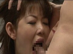 Tied up japanese chick gets fucked by two dudes