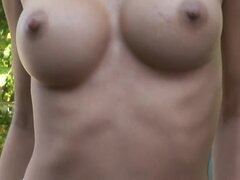 Hard nipples for fake tits model