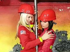 Blonde Firefighter Fucking a Brunette Colleague With a Strapon