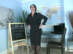 Horny mature teacher rubs her clit