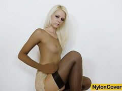 Petite blonde nylon full body dress and good-looking nylons