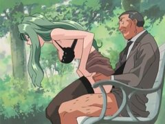 Sucking and sex in the park with hentai hottie