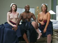 Two hot nurses cure a black guy.