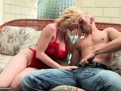 Busty blonde babe chomps on his cock, gets ass licked, then boned