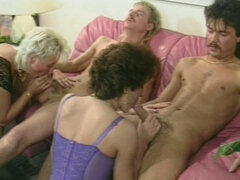 Two old women have fun with horny motherfuckers Retro
