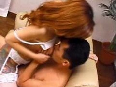 Sexy Redhead Asian MILF Huziko Komine Fucking In Sexy White Lingerie