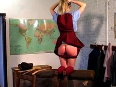 Schoolgirl ass spanked and caned hard