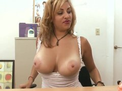 Nothing to do? Watch mature Jazmyn giving interview in the back room and denuding her tits completely. Why not getting some cream upon it?! Well, she can fuck her boobs with dildo.