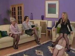 Women in stockings dominate sub guy