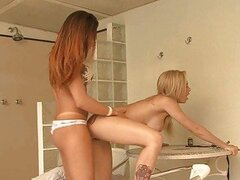 Brunette shemale bangs her hot blonde friend in bikini