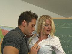 Hot teacher Anita Blue seduces her student s father