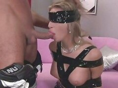Sexy busty blonde loves being tied up and doing deep throat