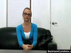Hot blonde amatuer with piercing gets fucked at backroom audition.