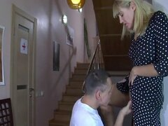 Blonde doctor gets her pussy licked by a patient