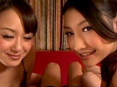 Anju Natsuki and Azumi Mizushima favour some dude with a blowjob