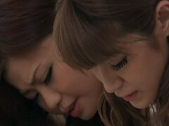 Horny Japanese idol Nao and a friend take turns sucking a big cock