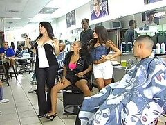 Three horny chicks gets fucked in a hairdressing salon