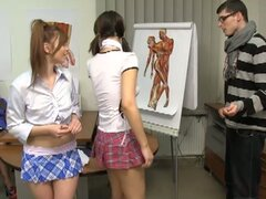Anatomy teacher fucks horny schoolgirls in hot group fuck action