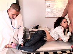 Brunette patient gives head to her man and gets fucked by the doctor