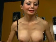 Busty long haired asian...