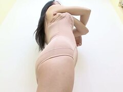 Girlfriend in changing room trying on the new lingerie