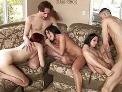 Three pale babes playing with three hard dicks