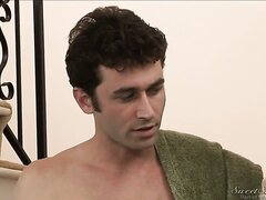 We see curvaceous milf Julia Ann talking briskly with dark-haired lass and then she appears to be kissing with James Deen. A few minutes later she finally bares her chubby tits.