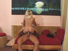 Skinny blonde babe takes it in the ass