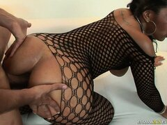 Sexy black bitch takes his big black boner in her tight black ass