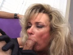 Milf slut takes sucks a guy off