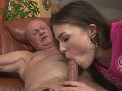 This old grandfather sucked by some horny young bitch