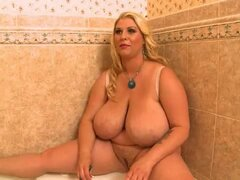 Busty BBW with a Pierced Clit Shaves Her Wet Pussy