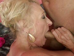 Rampant granny loves getting her soggy snatch hammered