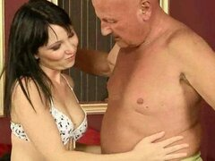 Teen enjoying sex with a horny grandpa in a 69
