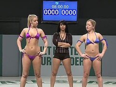 Naturally Busty Blondes Wrestle With Strapons On
