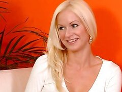 Playful blond babe with a hot tattoo goes solo at the casting