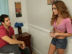 Alexis Paige is visiting her friend's brother, who just moved back home to go school and get a job. She's interested in what he's been up to and what he's going to be doing... but she's more interested in whether or not he wants to fuck her right then and there on his bed! She gets her answer when he spreads her legs open and eats her pussy like it's the reason he came home.