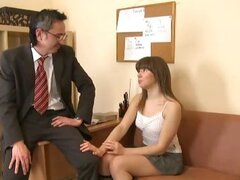 This babe is very sensual. She moans so sexy when horny teacher slowly moves his dick inside her tight wet hole.