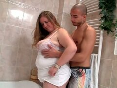 Lewd brunette fatty slut down and wild in bathroom