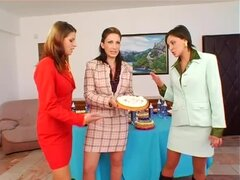 Women in suits food fight