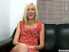Likable chick with long hair and pretty face comes for audition