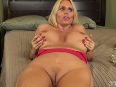 Well-endowed, blond slut Karen Fisher drinks juice from that lecher's cock