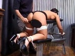 Tied up Secretary spanked by her boss