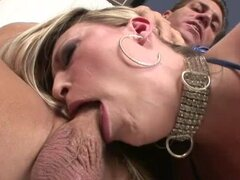 Hot bitch Harmony Rose gets choked out as she deep throates large dick