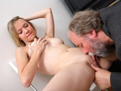 When it comes to fucking mature men, Maya seems to know exactly what to do together with herself.
