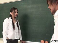 Risa Misaki gives her favorite student one hell of a hot anatomy lesson