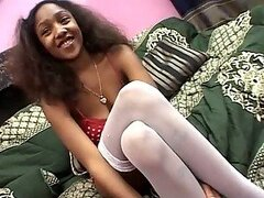 Slutty Ebony Teen Isyss Gets Fucked and Creampied in a Hot Threesome