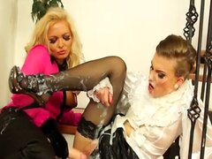 Lesbo gets drenched with fake cum