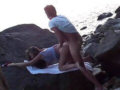 Beautiful teen Gets Fucked By The Beach's Rocky Shore