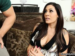 First-class brunette cougar with big tits Raylene sucks the young stud's cock